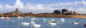 The Natural Monument Le De and Fishing Boats, Tregastel, Cotes D'Armor, Brittany, France, Europe by Markus Lange