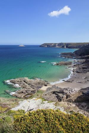 View Along the Cliffs of Cap Frehel to the Lighthouse, Cotes D'Armor, Brittany, France, Europe