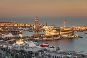 View from Montjuic to Port Vell with World Trade Center at Port Vell and Torre de Sant Jaume I , Ba by Markus Lange