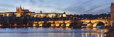 View over the River Vltava to Charles Bridge and the Castle District