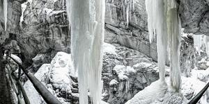 Icicles in the Breitachklamm Near Oberstdorf, Bavaria, Germany, Footpath Through the Gorge by Markus Leser
