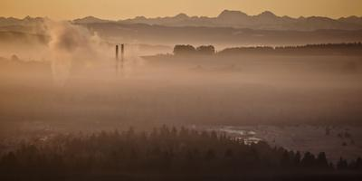 Morning Fog Above the Wurzacher Ried with Glass Factory, Bad Wurzach, Baden-WŸrttemberg, Germany