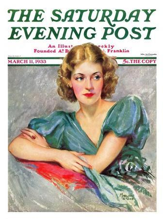 """""""Woman in Teal,"""" Saturday Evening Post Cover, March 11, 1933"""