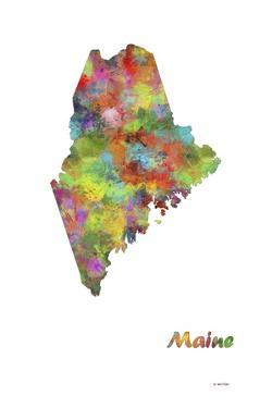 Maine State Map 1 by Marlene Watson