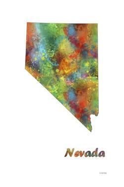 Nevada State Map 1 by Marlene Watson