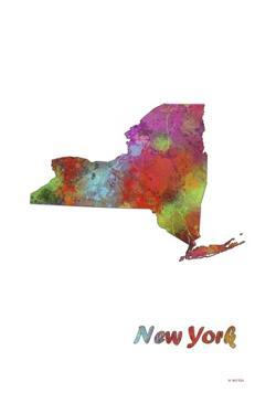 New York State Map 1 by Marlene Watson