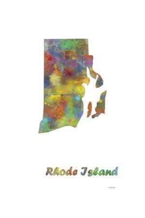 Rhode Island State Map 1 by Marlene Watson