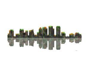 Tampa Florida Skyline BW 1 by Marlene Watson