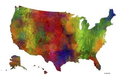 USA Map Clr 1 by Marlene Watson
