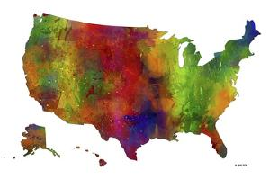 USA Map Clr 1 by Marlene Watson