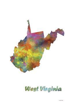 West Virginia State Map 1 by Marlene Watson