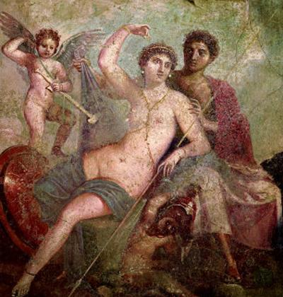 Mars and Venus from the House of Mars and Venus (Casa De Marte E Venere) Pompeii (Wall Painting)