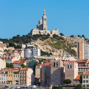 Marseille, Provence-Alpes-Cote d'Azur, France. The 19th cenury Neo-Byzantine Basilica of Notre-D...