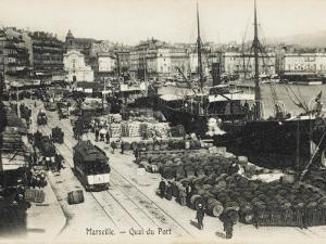 Marseilles, France, The Quayside with Wine Barrels Lined Up Ready for Export
