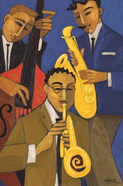 Trio in Blue I (Sax & Bass) by Marsha Hammel