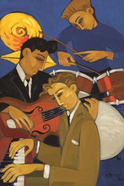 Trio in Blue II (Piano & Drums) by Marsha Hammel