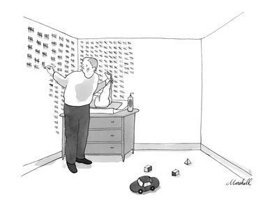 A man changes his baby's diaper. There are hash marks on the wall counting? - New Yorker Cartoon