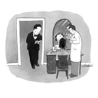 Man in tuxedo waiting for date to finish getting her Botox injection. - New Yorker Cartoon