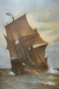 The Mayflower Carrying the Pilgrim Fathers across the Atlantic to America in 1620 by Marshall Johnson