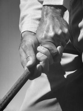 Golfer Ben Hogan Demonstrating Strong Grip for Woods and Irons by Martha Holmes