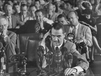 Howard R. Hughes Testifying at Hearing Before the Senate War Investigation Committee