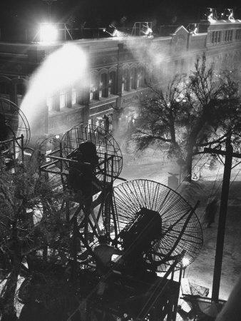 """Machines Making Snow and Wind on Set of the Movie """"It's a Wonderful Life"""""""