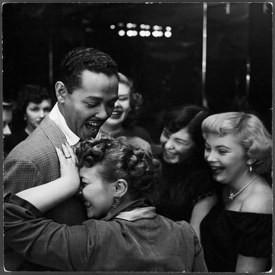 Singer Billy Eckstine Getting a Hug From an Adoring Female After His Show at Bop City