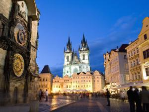 Astronomical Clock, Old Town Square and the Church of Our Lady before Tyn, Prague, Czech Republic by Martin Child