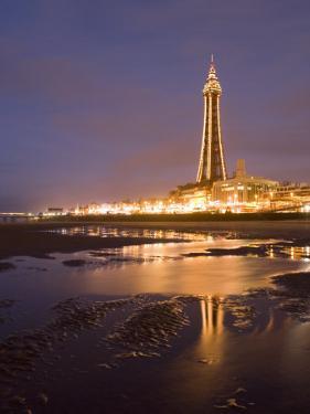 Blackpool Tower Reflected on Wet Beach at Dusk, Blackpool, Lancashire, England, United Kingdom by Martin Child