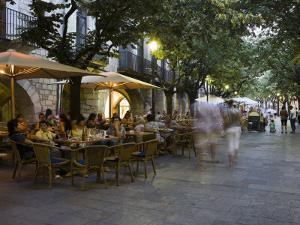 Cafe, Rambla Llibertat, Old Town, Girona, Catalonia, Spain by Martin Child