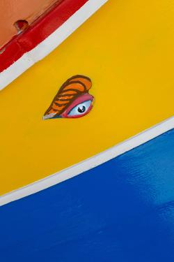 Detail of traditional brightly painted fishing boat in the harbour at Marsaxlokk, Malta, Mediterran by Martin Child