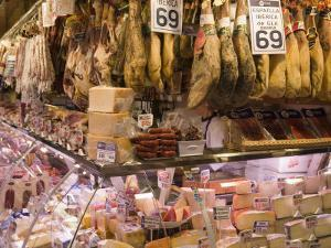Hams, Jamon and Cheese Stall, La Boqueria, Market, Barcelona, Catalonia, Spain, Europe by Martin Child