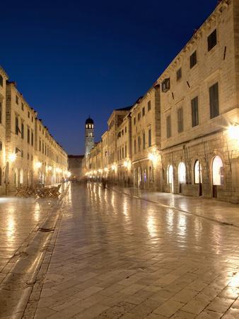 Looking Along Stradrun at Dusk, Old Town, Dubrovnik, Croatia, Europe