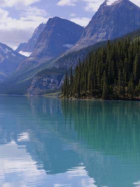 Mountains Reflected in Maligne Lake, Jasper National Park, UNESCO World Heritage Site, British Colu by Martin Child