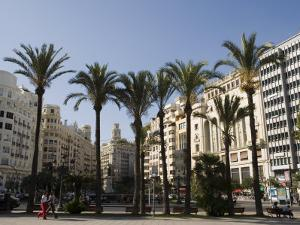 Plaza Ayuntamiento, Palm Trees, Buildings, Valencia, Mediterranean, Costa Del Azahar, Spain, Europe by Martin Child