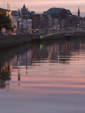 River Liffey at Dusk, Ha'Penny Bridge, Dublin, Republic of Ireland, Europe by Martin Child