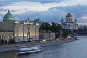 River Moskva and the Cathedral of Christ the Redeemer at Night, Moscow, Russia, Europe by Martin Child