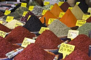 Spices for Sale, Spice Bazaar, Istanbul, Turkey, Western Asia by Martin Child