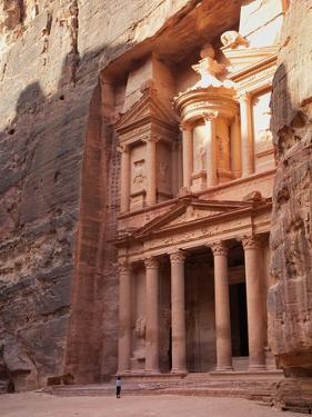 Tourist Looking Up at the Facade of the Treasury (Al Khazneh) Carved into the Red Rock at Petra, UN by Martin Child