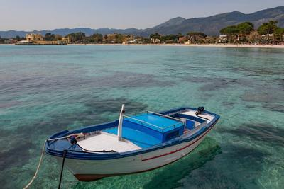 Traditional Colourful Fishing Boat Moored at the Seaside Resort of Mondello, Sicily, Italy
