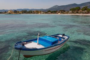 Traditional Colourful Fishing Boat Moored at the Seaside Resort of Mondello, Sicily, Italy by Martin Child