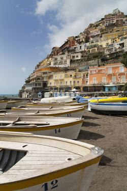 Traditional Fishing Boats and the Colourful Town of Positano by Martin Child