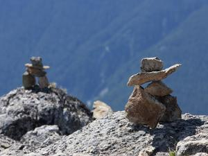 Traditional Inushuk Cairns at the Peak of Whistler Mountain, Whistler, British Columbia, Canada, No by Martin Child