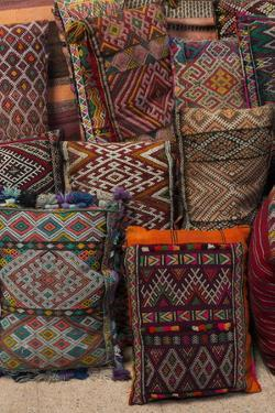 Traditional Moroccan Cushions for Sale in Old Square, Marrakech, Morocco, North Africa, Africa by Martin Child