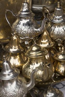 Traditional Moroccan Teapots for Sale in the Souks, Marrakech, Morocco, North Africa, Africa by Martin Child