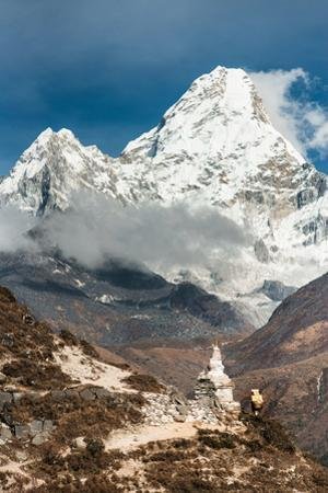 A porter lugs cargo on the trail to the Everest basecamp. by Martin Edstrom