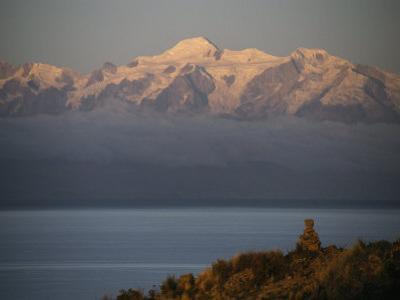 Lake Titicaca, Island of the Moon and Mount Ancohuma and Illampu