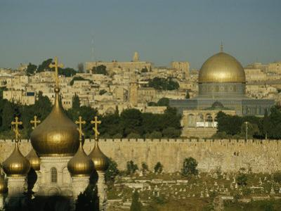 Russian Orthodox Mary Magdalen Church and the Dome of the Rock