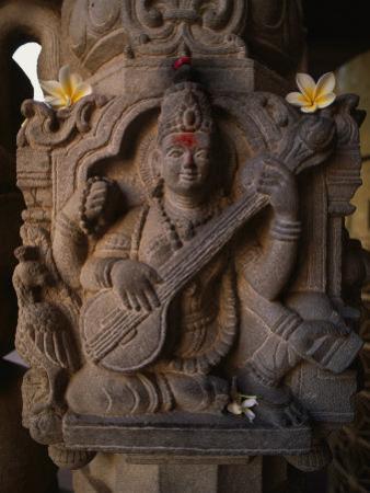 Stone Carving of the Goddess Saraswati
