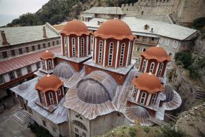 The main church (the Katholikon) at the Monastery of Saint Paul. by Martin Gray
